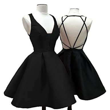 Uryouthstyle Deep V-Neck Sexy Backless 2018 Mini Homecoming Dresses Black 3237476bd