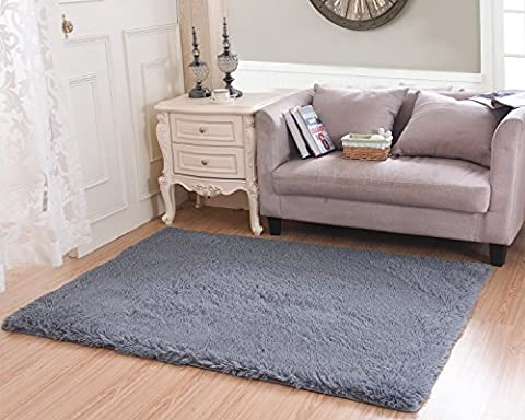Living Room Bedroom Rugs, MBIGM Ultra Soft Modern Area Rugs Thick Shaggy Play Nursery Rug With Non-Slip Carpet Pad For Living Room Bedroom 4 Feet By 5.2 Feet, (Soft Area Rug Sets)