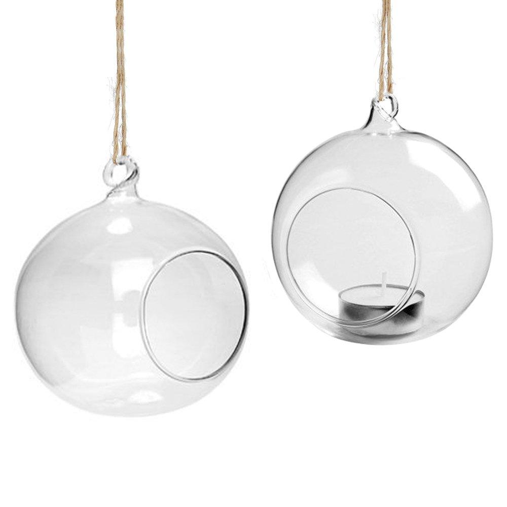 Youseexmas - Juego de 4 portavelas colgantes de cristal, forma de bolas, para terrario o jardín, diámetro de 80 mm … diámetro de 80 mm ... G100132