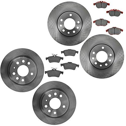 Front & Rear Semi Metallic Disc Brake Pads & Rotor Kit Set for Saab 9-3 Linear