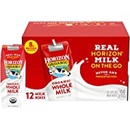 Horizon Organic Whole Milk 8 Ounce Single, 12 Count