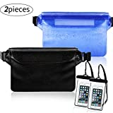 Weewooday 2 Pieces Waterproof Waist Pouch and 2 Piece Black Waterproof Phone Case Dry Bag for Boating Swimming Kayaking Beach Pool Water Parks, Keeping Phone Wallet Safe and Dry