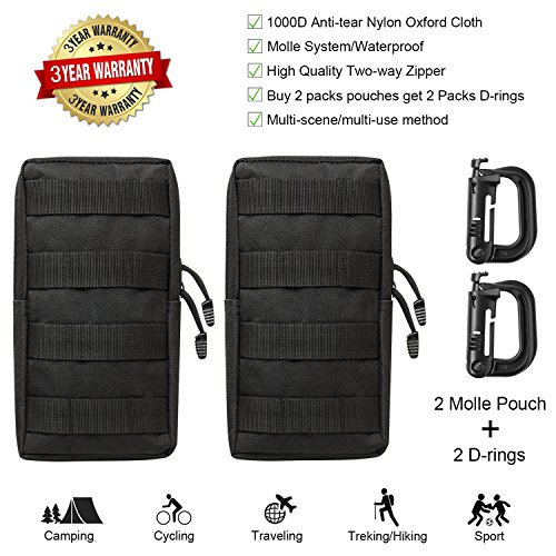 Molle Pouch Tactical Attachments Backpack Accessories Edc Pouches Compact Multi Purpose Water Resistant Military Utility Gadget Gear Hanging Waist Bags For Hiking Camping Car Cycling 2 Pack   2 D Ring