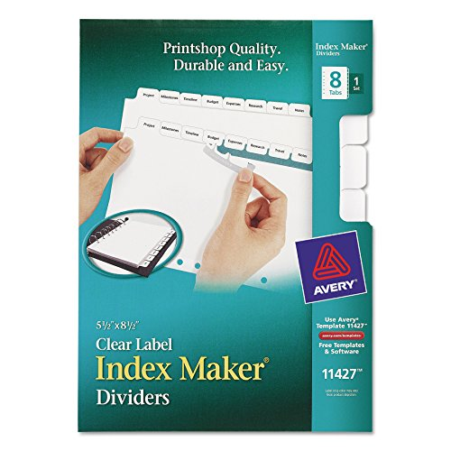 Avery Mini Index Maker Clear Label Dividers with White Tabs, 5.5 x 8.5 Inches, 8 Tabs, 1 set (11427) Avery Index Maker White Dividers