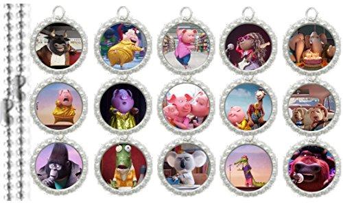 15 SING Silver Bottle Cap Pendant Necklaces Set 2 - Bottle Cap Pendants Set