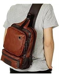 Men Sling Bag PU Leather Unbalance Chest Shoulder Bags Casual Crossbody Bag Travel Hiking Daypacks