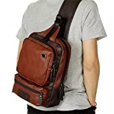 AOLIDA Men Sling Bag Leather Unbalance Chest Shoulder Bags Casual Crossbody Bag Travel Hiking Daypacks