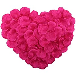 ZYLLGF 1000pcs Artificial Flower Silk Rose Petals Wedding Flower Decoration (Fuchsia)