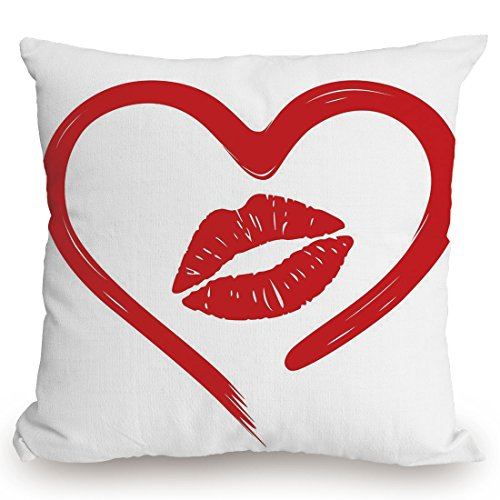 Throw Pillow Cushion Cover,Kiss,Heart Drawn in Lipstick and Woman Lip Imprint Romance Passion and Tenderness Message Decorative,Red White,Decorative Square Accent Pillow Case by KissCase
