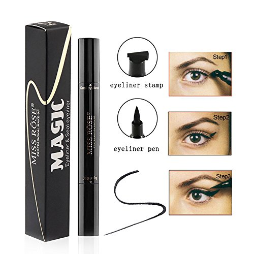 Turelifes Eyeliner Stamp Kit Easy to Makeup Eye Wing Liners 3 in 1 Drawing Eyeliner Tool-Includes Wing Stamp, Angled Brush & Eyeliner Ink