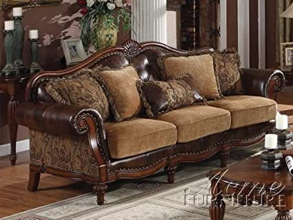 Incroyable ACME 05495 Dreena Bonded Leather Sofa With Five Pillows