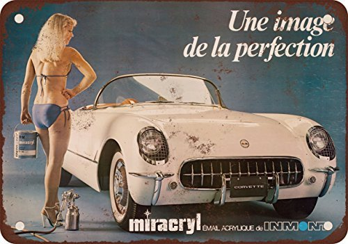 1953 Chevrolet Corvette Risque French Bikini Body Paint Vintage Look Reproduction Metal Tin Sign 7X10 Inches