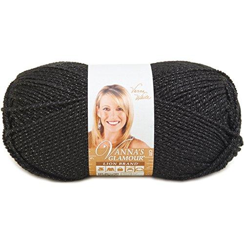 (Lion Brand Yarn 861-153B Vanna's Glamour Yarn, Onyx)
