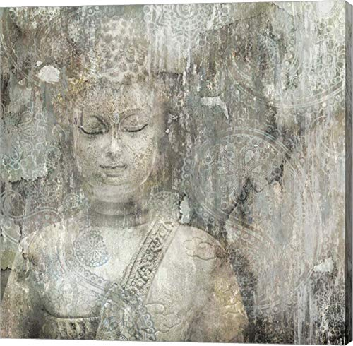 Buddha by Edward Selkirk Canvas Art Wall Picture, Gallery Wrap, 14 x 14 inches (Buddha Grey Canvas)