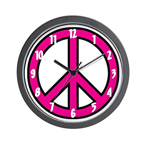 CafePress - pink peace Wall Clock - Unique Decorative - peace sign wall clocks