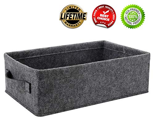 Shallow Storage Bins (Small Basket Shallow Storage Baskets Felt Storage Basket Bin Long Narrow Basket for Towels Dog Cat Toys Office Supplies Dippers Baby Toys Storage Basket Light)