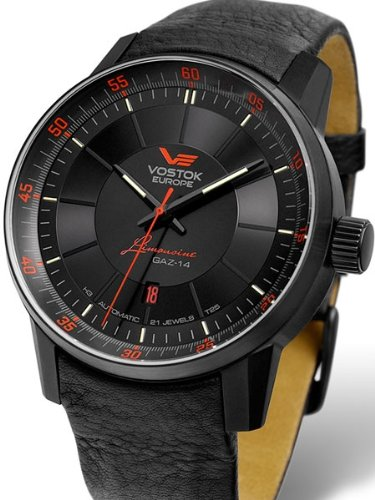 Vostok-Europe Gaz-Limo Black PVD Watch with Trigalight Gas Tube Illumination 5654140