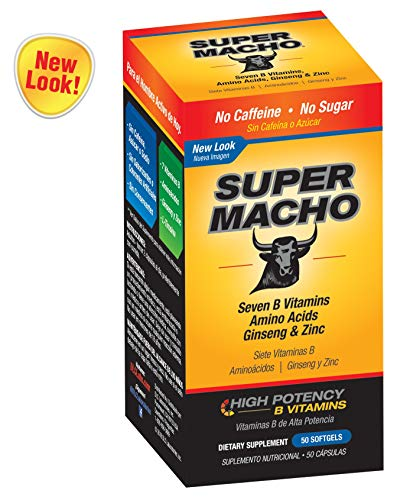 Super Macho Dietary Supplement with High Potency B Vitamins, No Preservatives, Sugar or Caffeine, Made in USA, 50 Softgels
