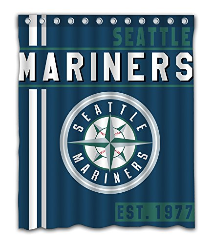 Seattle Baseball Team Emblem Waterproof Shower Curtain Blue Design Polyester for Bathroom Decoration 60 x 72 Inches with 12-Pack Plastic Hooks
