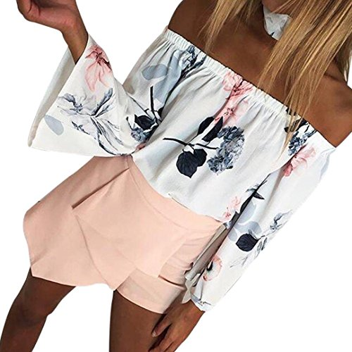(Goodtrade8 Women Off Shoulder Flare Tops Boat Neck Ruffle Strapless Blouse Floral Summer Tee T-Shirt (L, White))
