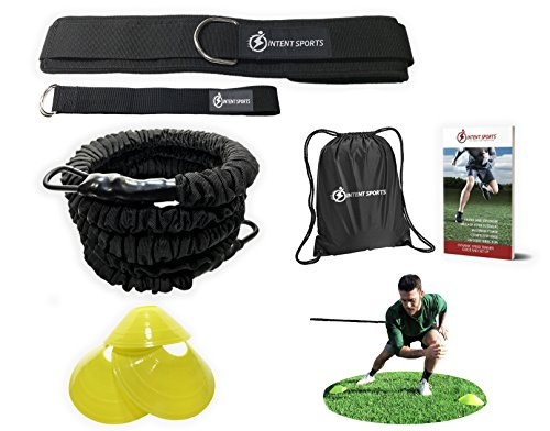360° Dynamic Speed Resistance and Assistance Trainer Kit 8 Ft. Strength 80 Lb Resistance Running Training Bungee Band (Waist). Solo or Partner. Multi-Sport Maximize Power, Strength, Speed! WITH eBook!