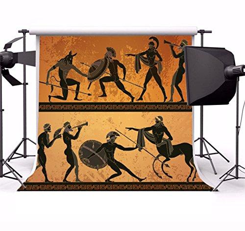 (Laeacco Vinyl 5x5ft Photography Background Ancient Greece Banner Black Figure Pottery Minotaur Gods Warrior Centaur Classical Ancient Greek Style Background Vintage Paper Children Adults Portraits)