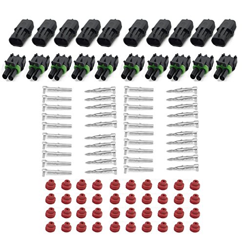 (HIFROM (10 Kit of 2 Pin Way) Waterproof Electrical Connector 1.5mm Series Terminals Heat Shrink Quick Locking Wire Harness Sockets 20-14 AWG)
