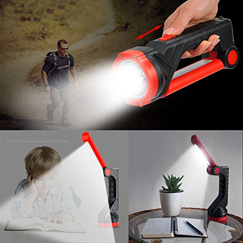 Tocean Solar Flashlight Rechargeable LED Flashlights Portable Handheld Torch and Table Lamp for Home Use, Camping, Patrol, Repairing,Emergency,Reading