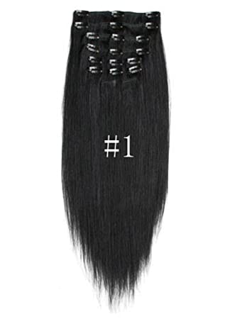 Amazon 20inch 7pcs straight remy clip in real human hair 20inch 7pcs straight remy clip in real human hair extensions 1 jet black pmusecretfo Images