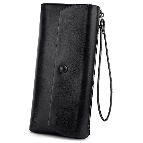 Uto Wallet Black Woman Luxury Wrist Strap Wax Large Capacity Pu Leather Zipper Card Portable Mobile Wallet Pink Wax