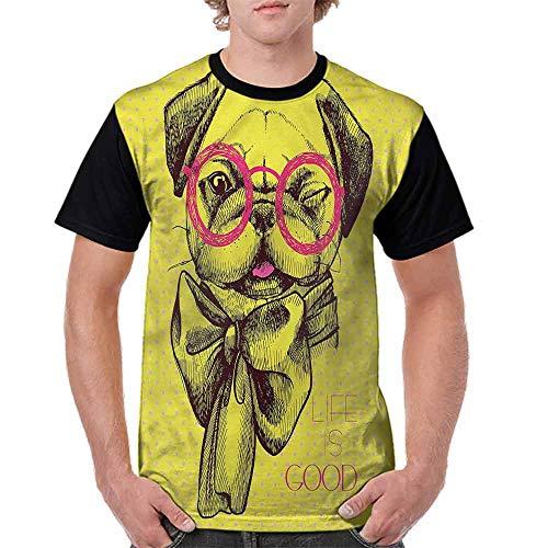 BlountDecor Classic T-Shirt,Intellectual Dog Glasses Fashion Personality ()