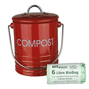red metal mini kitchen compost caddy 50x all green. Black Bedroom Furniture Sets. Home Design Ideas
