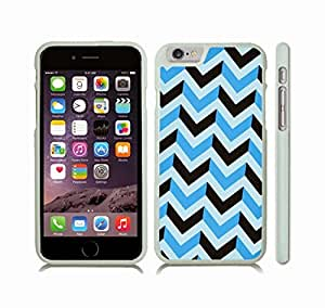 iStar Cases? iPhone 6 Case with Chevron Pattern Black/ Light Blue/ Mint Stripe , Snap-on Cover, Hard Carrying Case (White)