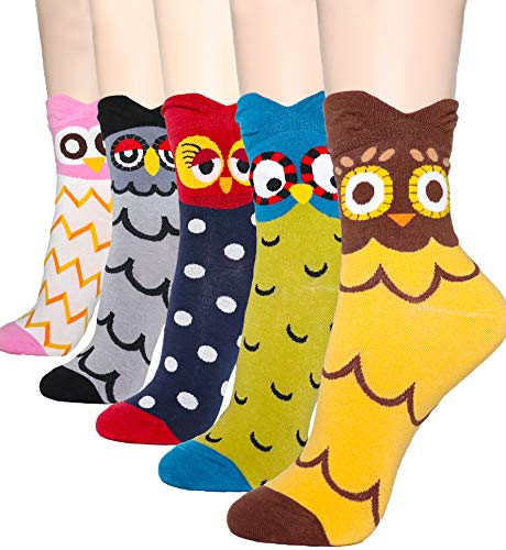 DearMy Womens Cute Design Casual Cotton Crew Socks | Good for Gift Idea| One Size Fits All | Gifts for Women (Owl 5 Pairs) -