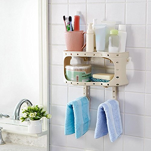 Binmer(TM) Plastic Suction Cup Bathroom Kitchen Corner Storage Rack Organizer Shower Shelf (Gray) by Binmer(TM)