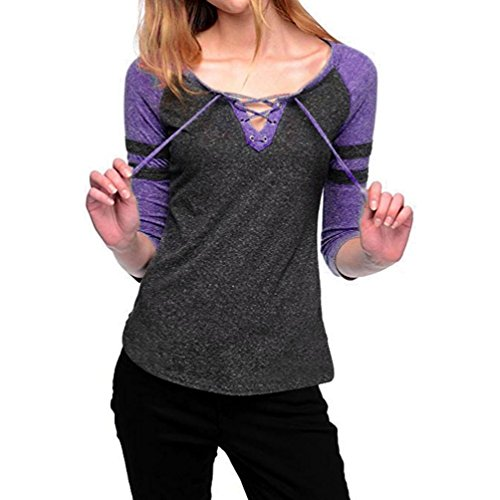 Laimeng_world,Women Sexy Lace Up 3/4 Sleeve V Neck Stripe T Shirt Splice Blouse Tops (L, Purple) (Quarter Slub Sleeve Shirt)