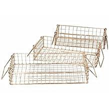 Copper Wire Basket Mesh Crate Vintage Kitchen Office Storage Desk Organiser