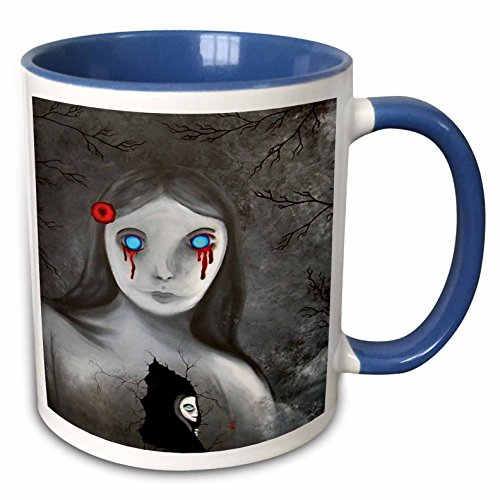 (3dRose Dooni Designs Halloween Designs - Bleeding Eyes Goth Gothic Halloween Design - 15oz Two-Tone Blue Mug)