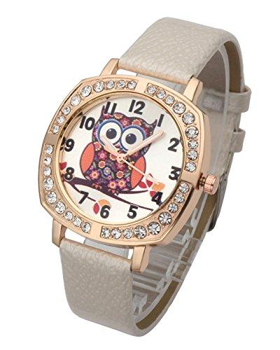 Top Plaza Womens Girls Fashion Rose Gold Tone Leather Wrist Watch Cute Owl Pattern Luxury Rhinestones Decorated Analog Quartz Dress Watch - White