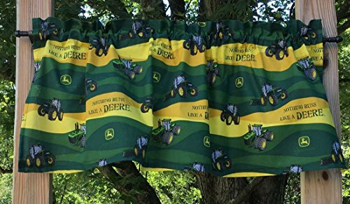 John Deere Drapes (Handcrafted Cotton Curtain Valance Sewn From John Deere Tractor Yellow Green Cotton Fabric)