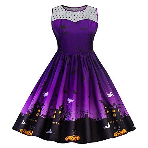 Pxmoda Women's Vintage Halloween Print Lace Panel Dress Retro Rockabilly A Line Dresses (M, Purple)