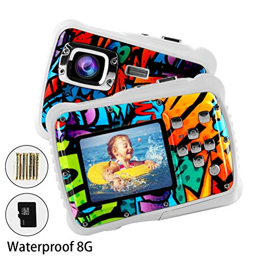 Poogig 【2019 Newest Kids Camera】 Kids Camera, Waterproof Digital Camera for Children, 12MP HD Underwater Camcorder with 3M Waterproof, 2.0 Inch LCD Screen, 8X Digital Zoom, Flash Mic and 8G SD Card