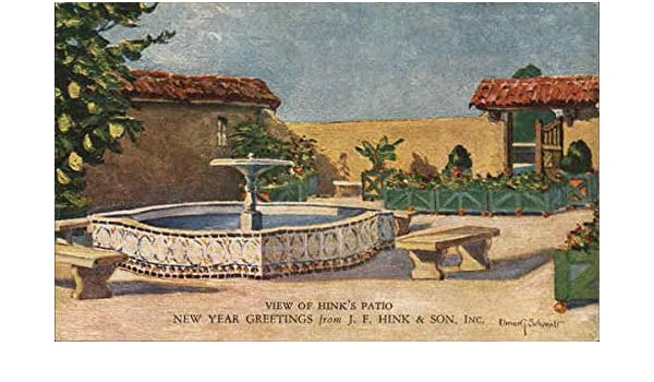 view of hinks patio new year greetings from j f hink son inc original vintage postcard at amazons entertainment collectibles store
