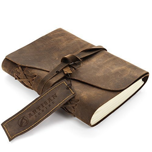 LEATHER JOURNAL NOTEBOOK A5 MEDIUM Handmade Artisan Unique Hand Pressed Unlined Cotton Paper For Men Women Kids 7 x 5, Best Gift for Art Sketchbook, Travel Diary & Notebooks to (Handmade Drawing)