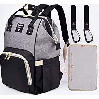 Dokoclub Diaper Bag Backpack Nappy Changing baby Bag for baby care, Pad and hook, Black&gray, Large