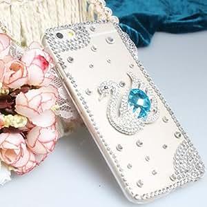 QHY Fashion Diagonal Blue Swan Case Bowknot Pattern Rhinestone Case for iPhone6 plus