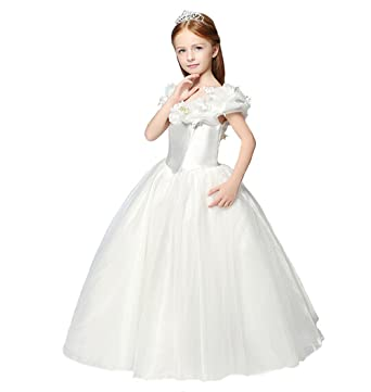 355ec88571b7 BeiMei Girls' Long Floral Masquerade Princess Birthday Dresses 16 US White