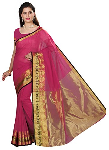 Ishin Cotton Silk Pink Woven Party Wear Wedding Wear Casual Wear Festive Wear Bollywood New Collection With Woven Zari Border Latest Design Trendy Women's Saree/Sari