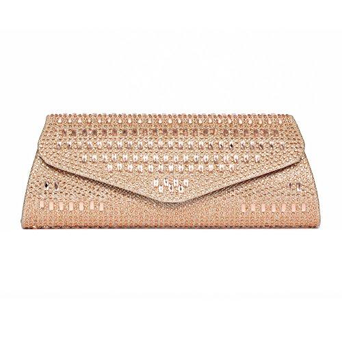 Womens Clutch Wedding Evening Fellini Bridal Bags for Evening Rhinestone Lydia Purse Carlo Champagne Bag 67IgwW8qq