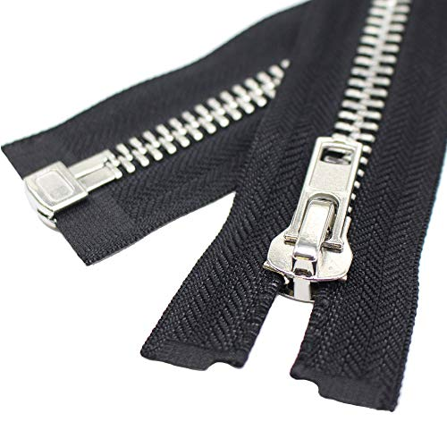 (YaHoGa #10 26 Inch Silver Separating Jacket Zipper Large Metal Zipper Y-Teeth Black Heavy Duty Metal Zippers for Jackets Sewing Coats Crafts (26